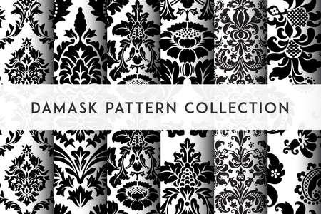 Conjunto de patrones de Damasco transparente de vector. Rico adorno, antiguo patrón de estilo de Damasco para fondos de pantalla, textil, embalaje, diseño de productos de lujo - Ilustración vectorial