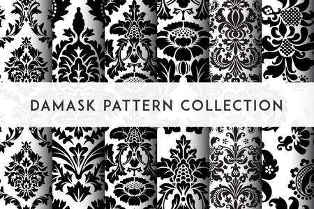 Set of Vector seamless damask patterns. Rich ornament, old Damascus style pattern for wallpapers, textile, packaging, design of luxury products - Vector Illustration Stock fotó - 124539718