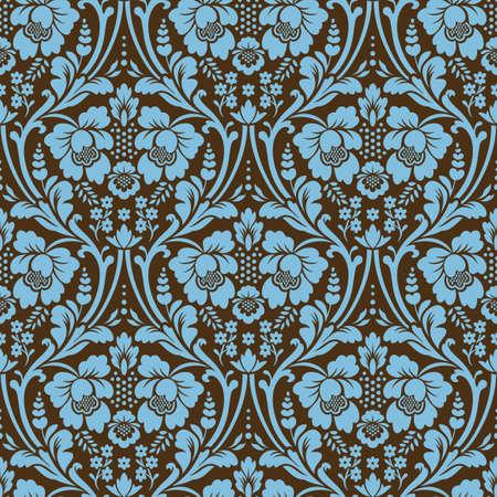 Motif damassé sans soudure de vecteur. Couleurs bleu et marron. Ornement riche, ancien motif de style Damas pour papiers peints, textiles, scrapbooking, etc.