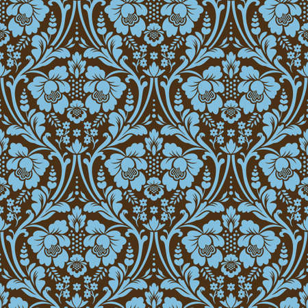 Patrón de Damasco transparente de vector. Colores azul y marrón. Adorno rico, patrón de estilo antiguo de Damasco para fondos de pantalla, textiles, álbumes de recortes, etc.