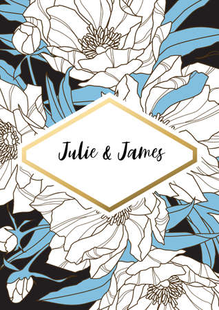 Vintage Wedding Invite template with floral background of flowers peons, with gold decorated banner. Vector invitation