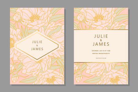 Conjunto de plantilla de invitación de boda vintage con fondo floral de peones de flores, con pancarta decorada en oro. Invitaciones vectoriales