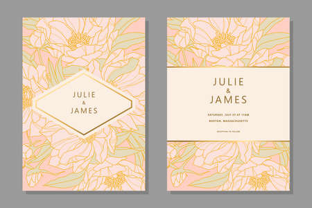 Set of Vintage Wedding Invite template with floral background of flowers peons, with gold decorated banner. Vector invitations