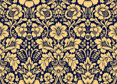 Patrones de oro damasco transparente de vector. Rico ornamento, antiguo patrón de oro de estilo Damasco para fondos de pantalla, textil, embalaje, diseño de productos de lujo - Ilustración vectorial Ilustración de vector