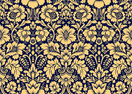 Vector seamless damask gold patterns. Rich ornament, old Damascus style gold pattern for wallpapers, textile, packaging, design of luxury products - Vector Illustration Ilustração