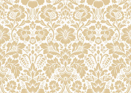Vector seamless damask gold patterns. Rich ornament, old Damascus style gold pattern for wallpapers, textile, packaging, design of luxury products - Vector Illustration Reklamní fotografie - 123111869