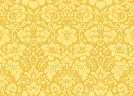 Vector seamless damask gold patterns. Rich ornament, old Damascus style gold pattern for wallpapers, textile, packaging, design of luxury products - Vector Illustration 向量圖像