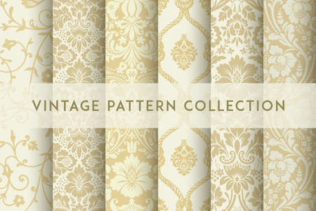 Set of Vector seamless damask patterns. Rich ornament, old Damascus style pattern for wallpapers, textile, packaging, design of luxury products - Vector Illustration Reklamní fotografie - 125287915