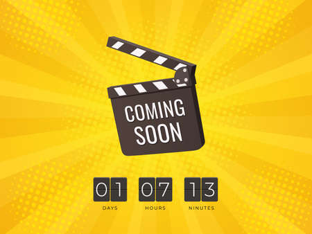 Coming Soon Clapper board with Flip Countdown Clock on yellow background. Design concept for sale, business advertising, web, promotion announce tag. - Vector Illustration