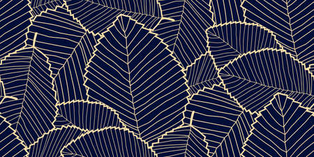 Vector seamless Leafs pattern dark blue and gold. Pattern for wallpapers, textile, Scrapbooking etc.