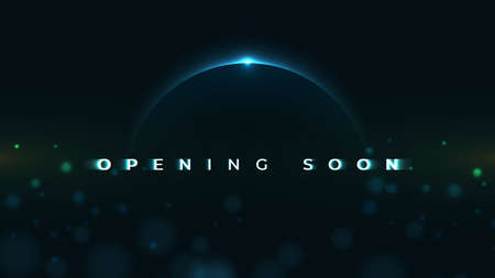 Opening Soon text on abstract Sunrise Dark Background with motion effect. Design Concept for sale, business advertising, web, promotion announce, poster, banner, flyer. - Vector Illustration Çizim