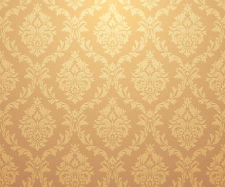 Patrones de oro damasco vector. Rico ornamento, antiguo patrón de oro de estilo Damasco para fondos de pantalla, textil, embalaje, diseño de productos de lujo - Ilustración vectorial
