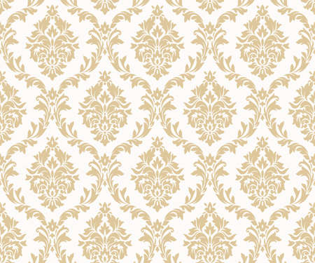 Vector seamless damask gold patterns. Rich ornament, old Damascus style gold pattern for wallpapers, textile, packaging, design of luxury products - Vector Illustration Çizim