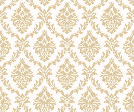 Wektor wzorców bezszwowe adamaszku złota. Bogaty ornament, stary złoty wzór w stylu Damaszku na tapety, tekstylia, opakowania, projektowanie luksusowych produktów - ilustracja wektorowa