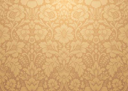Patrones de oro damasco vector. Rico ornamento, antiguo patrón de oro de estilo Damasco para fondos de pantalla, textil, embalaje, diseño de productos de lujo - Ilustración vectorial Ilustración de vector