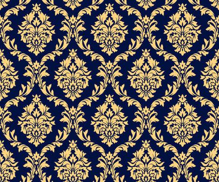 Motifs d'or damassé sans soudure de vecteur. Ornement riche, ancien modèle d'or de style Damas pour papiers peints, textile, emballage, conception de produits de luxe - Illustration vectorielle