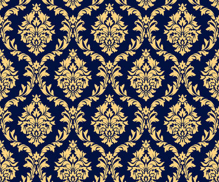 Vector seamless damask gold patterns. Rich ornament, old Damascus style gold pattern for wallpapers, textile, packaging, design of luxury products - Vector Illustration Reklamní fotografie - 123111887