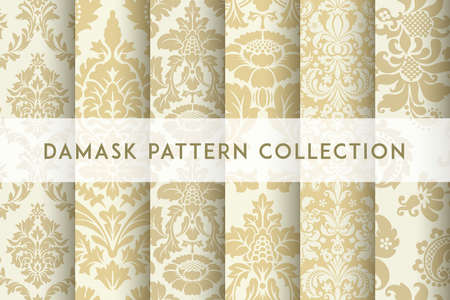 Set of Vector seamless damask patterns. Rich ornament, old Damascus style pattern for wallpapers, textile, packaging, design of luxury products - Vector Illustration