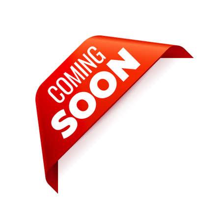Red Vector Banner Ribbon on white background, corner ribbon. Coming Soon Illustration