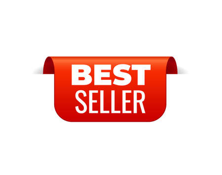 Red Vector Banner Ribbon on white background, top bookmark. Best Seller