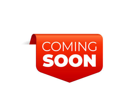 Red Vector Banner Ribbon on white background, top bookmark. Coming Soon