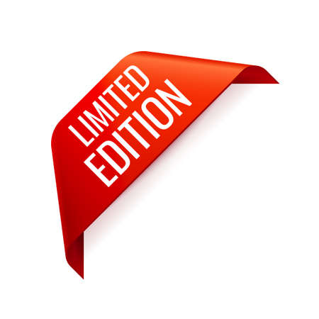 Red Vector Banner Ribbon on white background, corner ribbon. Limited Edition