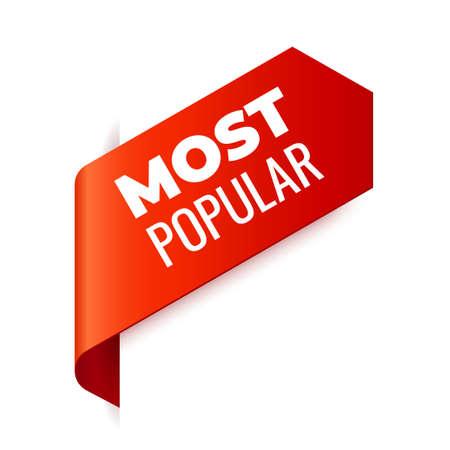 Ruban de bannière de vecteur rouge sur fond blanc, signet de gauche. Le plus populaire