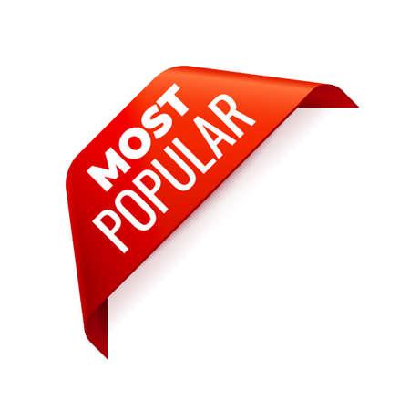 Red Vector Banner Ribbon auf weißem Hintergrund, Eckband. Am beliebtesten Vektorgrafik