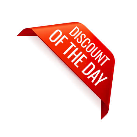Red Vector Banner Ribbon on white background, corner ribbon. Discount of the day