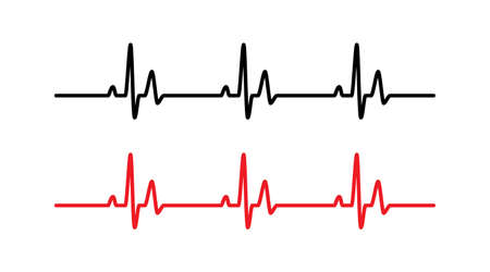 Heart beat line red and black - Vector