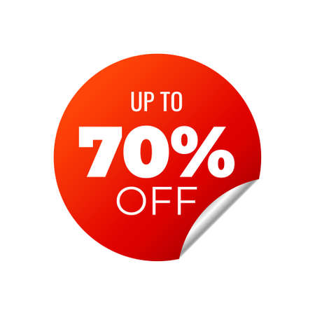 Red Vector Banner Sticker on white background, up to 70 percent off - Vector Illustration  イラスト・ベクター素材