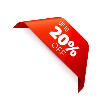 Red Vector Banner Ribbon on white background, corner ribbon, up to 20 percent off - Vector Illustration
