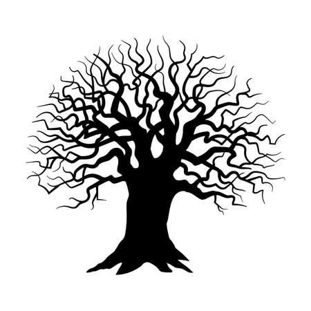 Sylwetka drzewa na białym tle, złowrogie, ponure drzewo - Vector