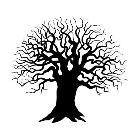Tree silhouette on white background, Sinister, gloomy tree - Vector