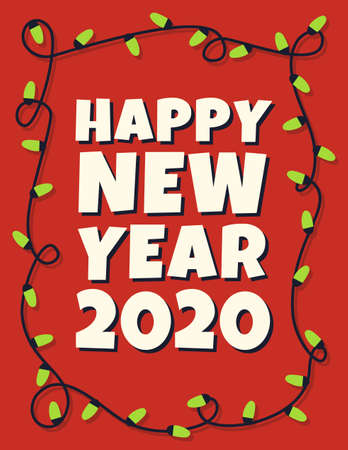 Happy 2020 new year card with garland. Vector illustration