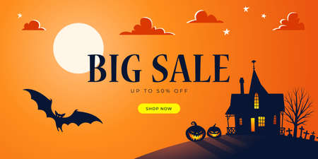Promo Halloween background template. Big Sale. Haunted House, Full Moon, Bats, Ominous Pumpkins, Cemetery - Vector  イラスト・ベクター素材