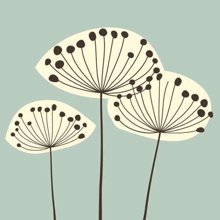 Vintage Dandalions illustration. Floral Elements for design, dandelions. - Vector Illustration