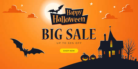 Promo Halloween background template. Big Sale. Haunted House, Full Moon, Bats, Ominous Pumpkins, Cemetery - Vector Ilustracja