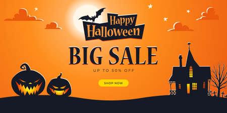 Promo Halloween background template. Big Sale. Haunted House, Full Moon, Bats, Ominous Pumpkins, Cemetery - Vector