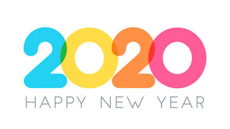 2020 Happy New Year typography design. Vector Color Overlay Numbers