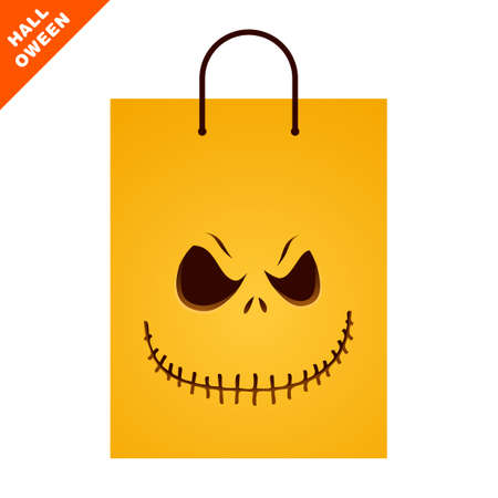 Orange paper shopping bag with Halloween sinister face. Front view of retail packaging