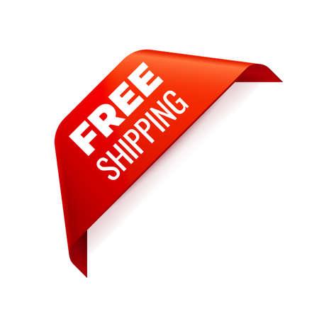 Red corner Ribbon on white background. Free shipping