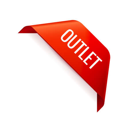 Red corner Ribbon on white background. Outlet