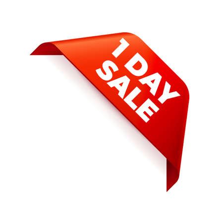 Red corner Ribbon on white background. 1 Day Sale