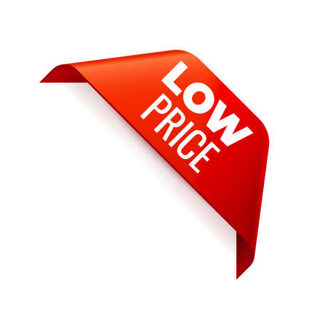 Red corner Ribbon on white background. Low Price