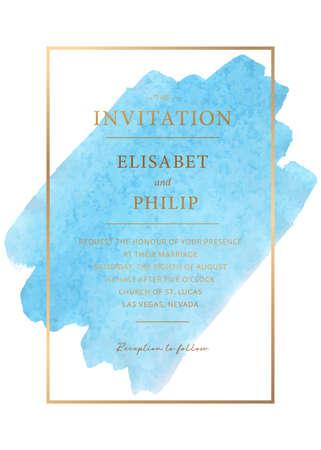 Vintage Wedding Invitation template. Modern design. Wedding Invitation design with watercolor texture background. Tradition decoration for wedding. Vector illustration. Gold border