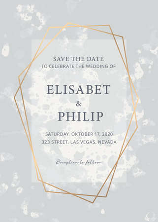 Wedding invite design template with marble texture background. Vector texture. Gold border