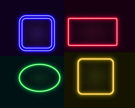 Set of neon frames, for design in retro style, cyberpunk, futurism. Vector glowing banners Illustration