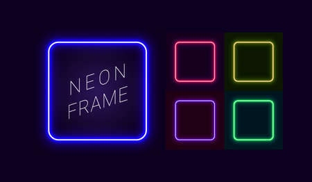 Set of neon frames with rounded corners, for design in retro style, cyberpunk, futurism. Vector glowing banner