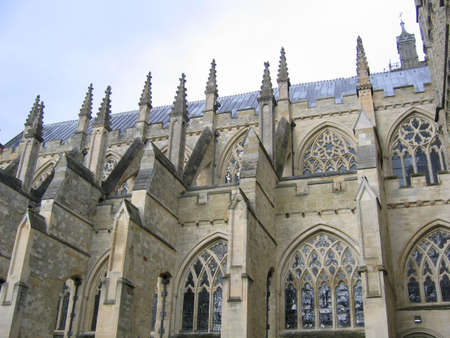 Flying Butresses on the Side of an English Cathedral photo